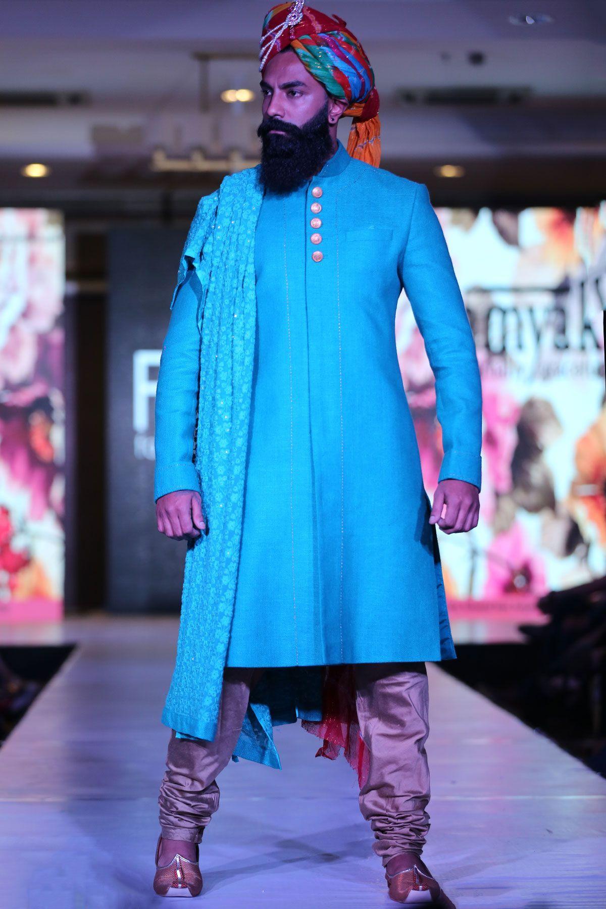 Blue Jute Thread Embroidered Indowestern Sherwani-IW1090 ...