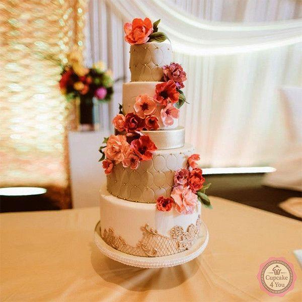 Hochzeitstorte fünfstöckig - gold, rot, apricot - Hochzeitstorten