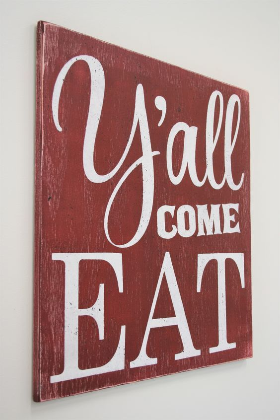 Kitchen Signs Decor Y'all Come Eat Wood Sign Kitchen Sign  Kitchen Signs Wood Signs