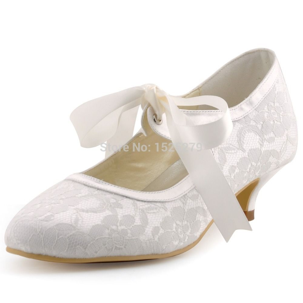 Lady A3039 1 Ivory Women Mary jane Bridal Evening Party Pumps Closed Toe  Ribbons Low Heels 1.5   Satin Lace Wedding Shoes-in Women s Pumps from Shoes  on ... 4b7400201d3e