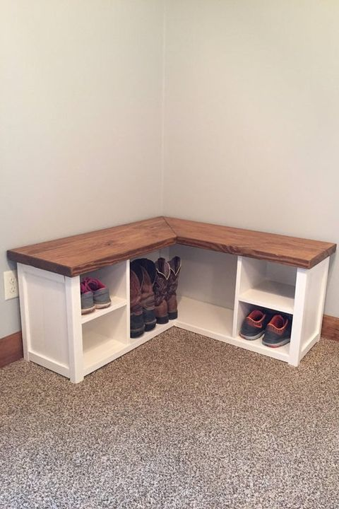 DIY Shoe Rack Ideas to Make the Whole Family a Little More Organized -   diy Storage seat