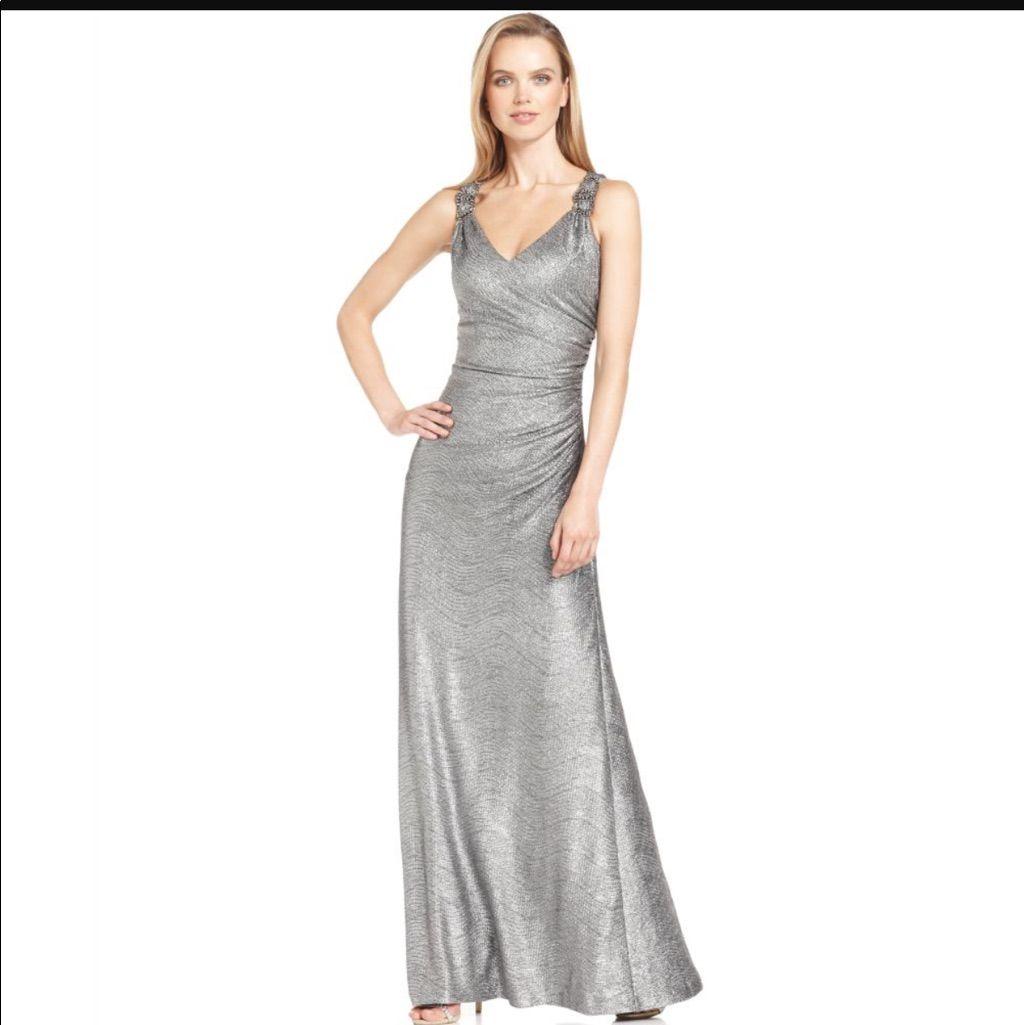 c58842c8c852 Calvin Klein Silver Metallic Dress | Products | Gowns, Calvin klein ...