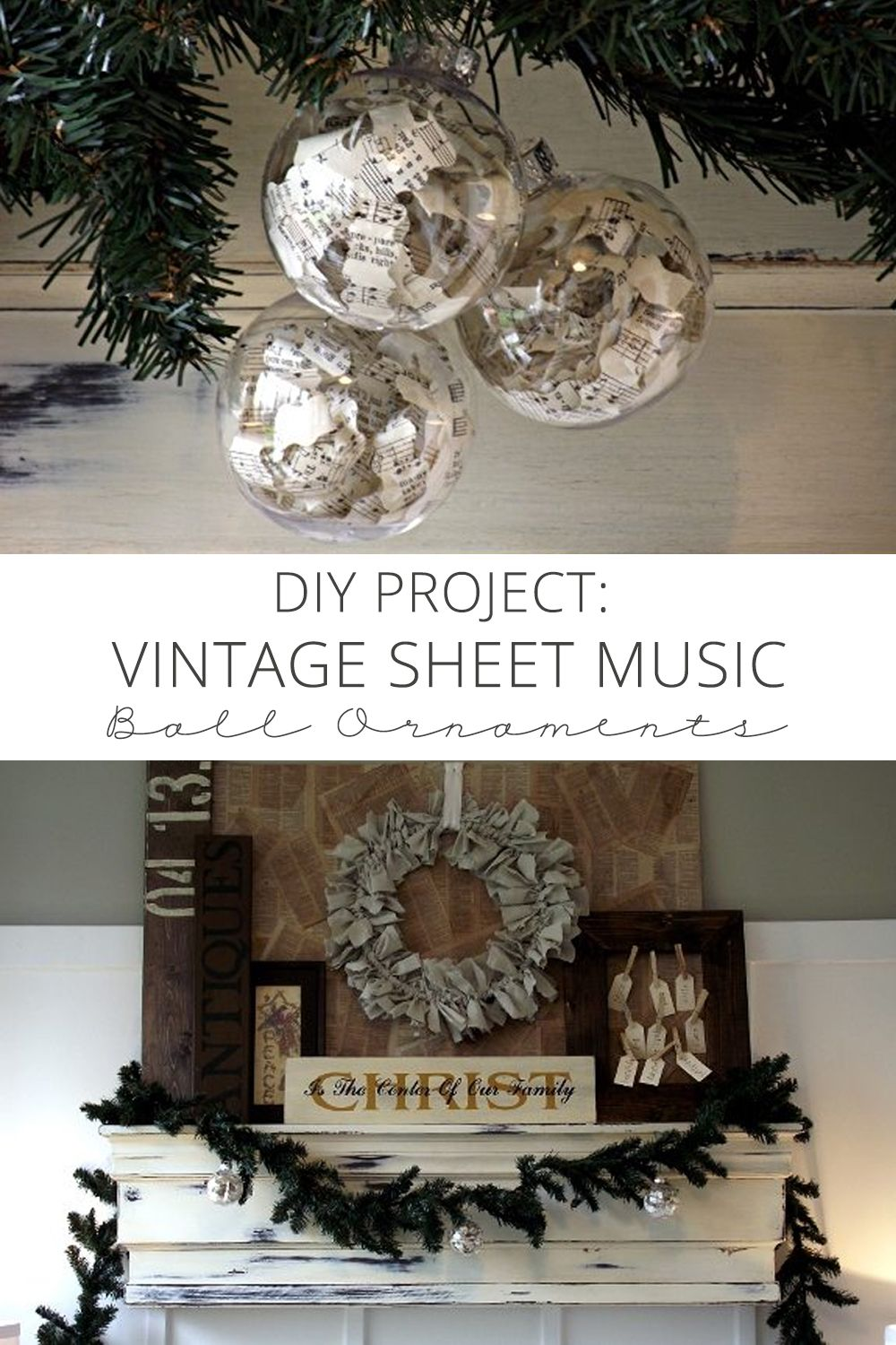 Diy Project Vintage Sheet Music Ball Ornaments Via Homemadelovely Sheet Music Ornaments Diy Projects Vintage Vintage Sheet Music