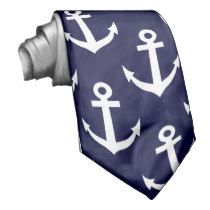Nautical neck tie with navy anchor pattern