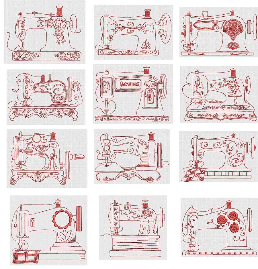 Vintage Sewing Machines Redwork | Quilting | Pinterest | Bordado ...
