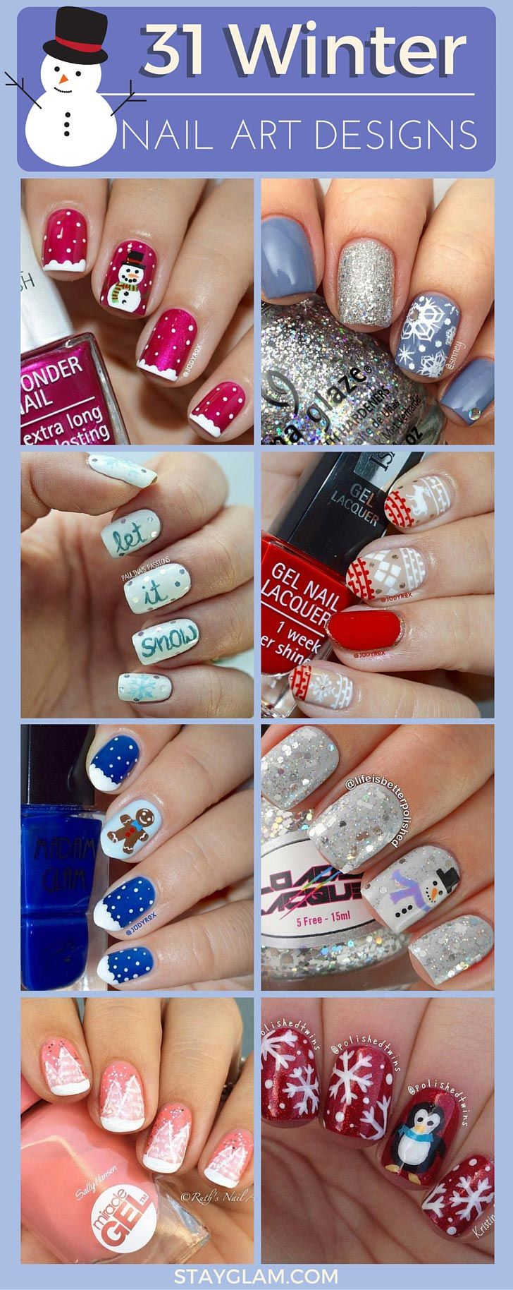31 Cute Winter-Inspired Nail Art Designs | Diseños de uñas, Uñas ...