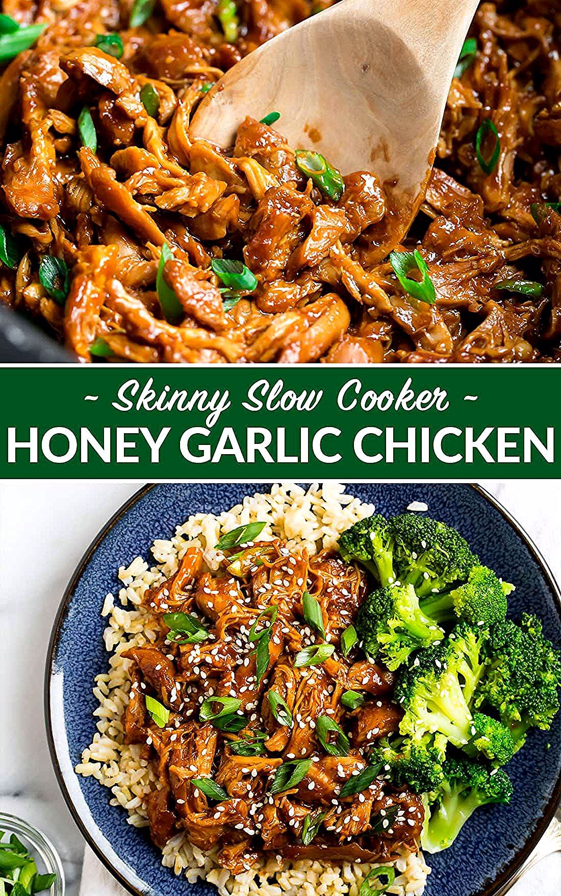 Healthy Slow Cooker Honey Garlic Chicken Thighs Just 8 ingredients Juicy chicken in a sweet sticky honey garlic sauce Our entire family loves this easy healthy crockpot r...