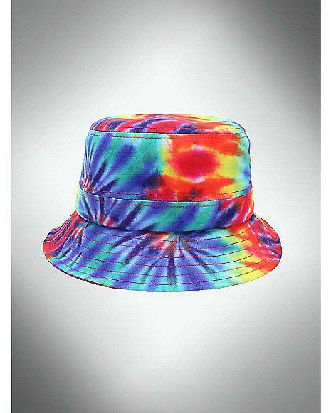 38359bc257f37 Tie Dye Rainbow Bucket Hat - Spencer s
