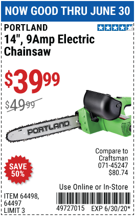 Portland 9 Amp 14 In Electric Chainsaw For 39 99 In 2020 Electric Chainsaw Harbor Freight Tools Chainsaw