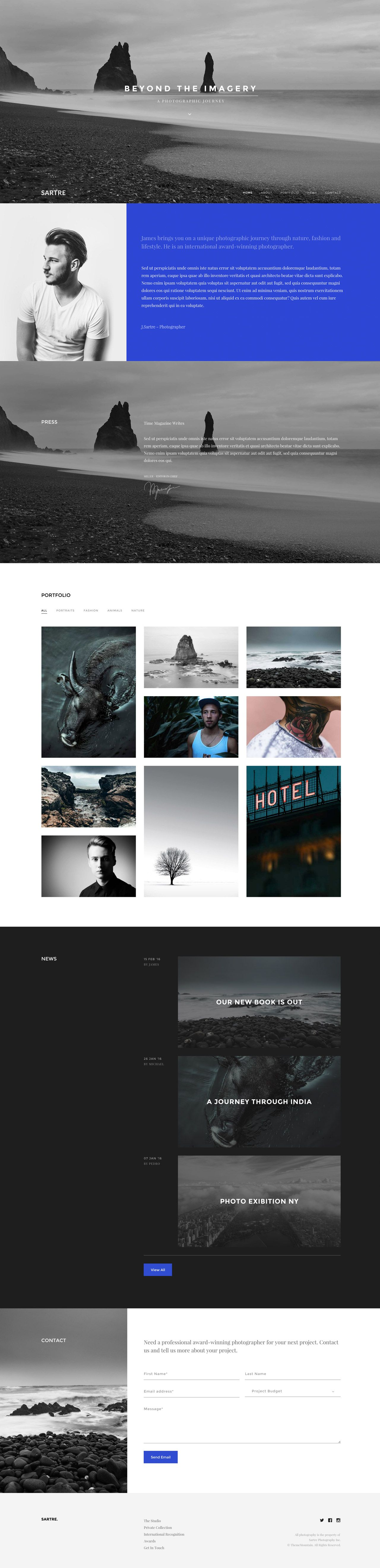 Sartre\' is an HTML template with an elegant One Page portfolio ...
