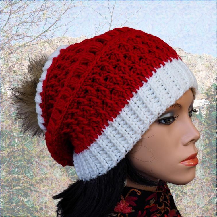 Pom Pom hat Santa hat adult Christmas Hat pattern  7bb76958309d
