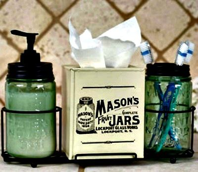 Mason Jar Soap, Toothbrush and Tissue Bathroom Caddy  available in the shop!