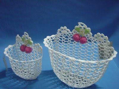 Receitas de Crochet: Cestinhos encurecido
