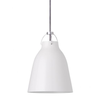 Caravaggio Pendant Light - White P1: The Caravaggio is now considered a Scandinavian design classic. Characterised by direct light without glare whilst the uplight from the pendant's top also adds to the room's ambient light. High gloss white or matte white, grey fabric covered flex.