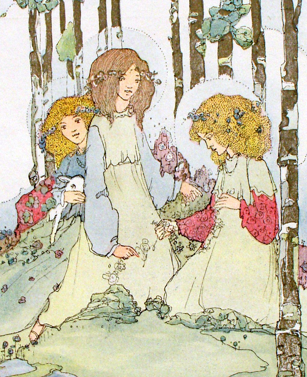 """Jessie M. King, """"The Lambs Play Always"""", illustration for """"Seven Happy Days"""", detail"""