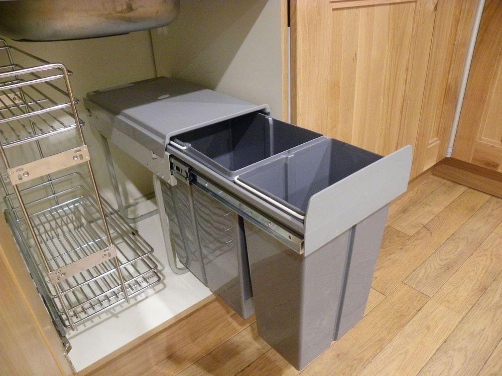 Details about New 40L (2X20) Pull Out Kitchen Waste Bin / Recycle Bin -Under Sink Cabinet #kitchendoors