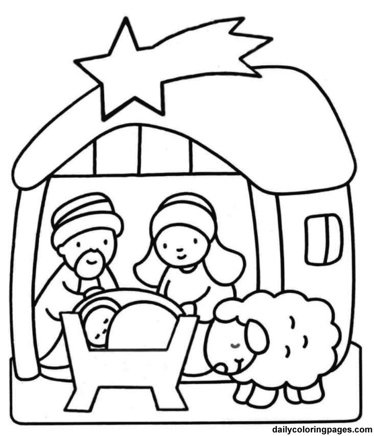 Christmas Coloring Sheets for Kindergarten | Nativity Scene Coloring ...