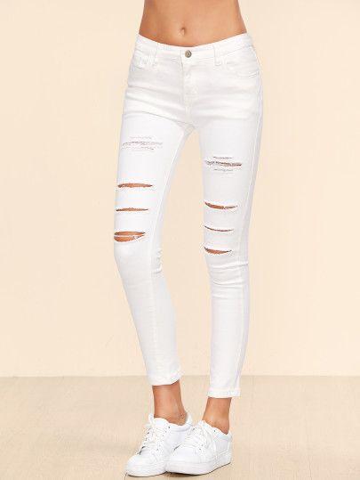 White Ripped Ankle Jeans Pantalones Vaqueros Rotos Jeans Rasgados Blancos Vaqueros Pitillo