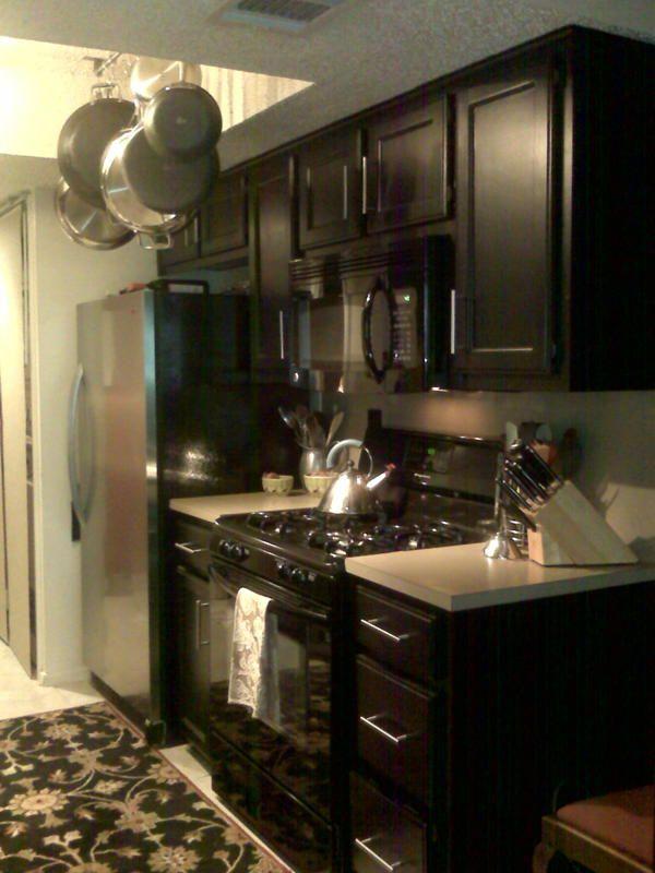 Condo Galley Kitchen Black Cabinets Kitchen Remodel Farmhouse