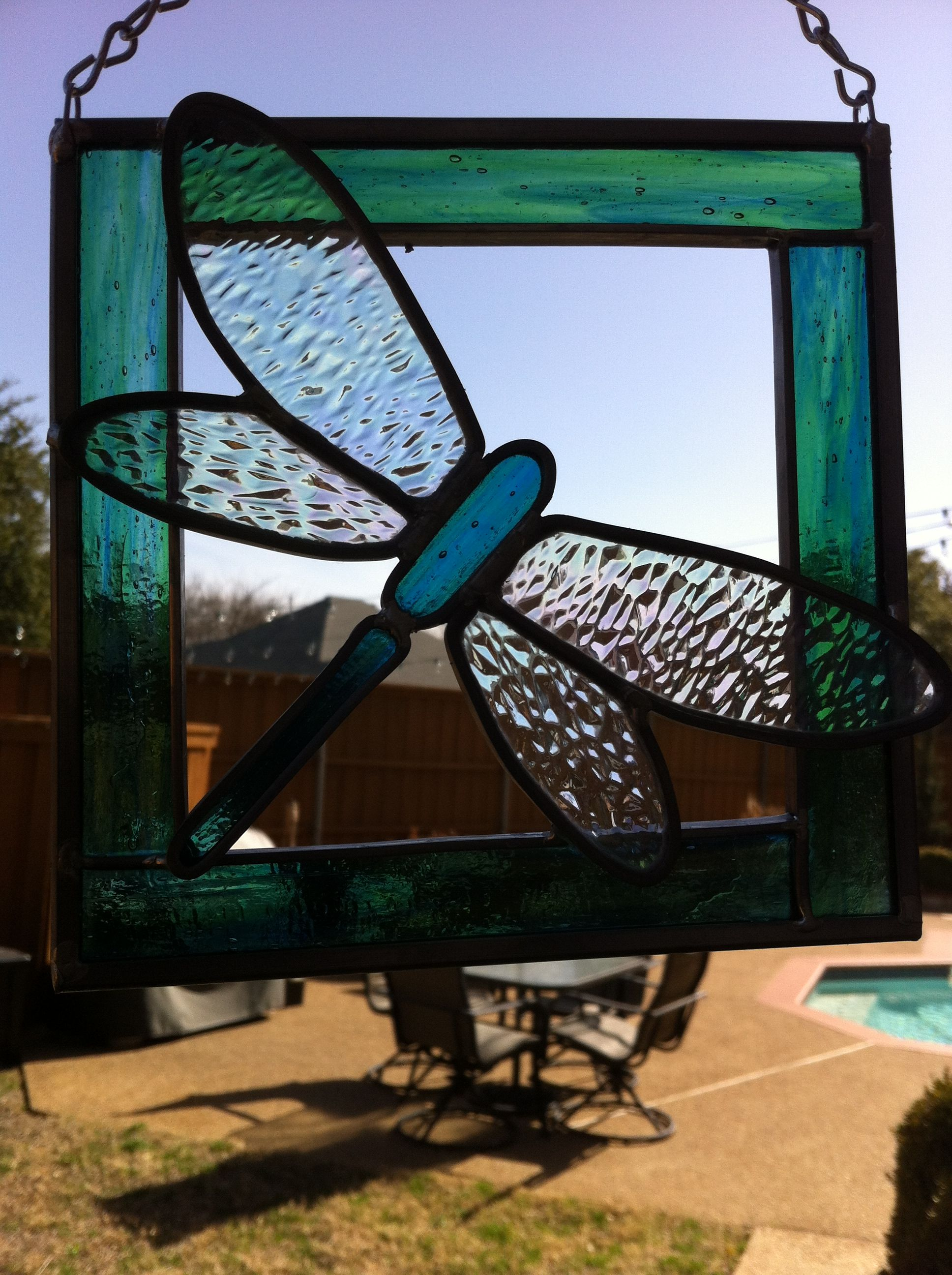 Stained glass Dragonfly Suncatcher ( Blue / Green)