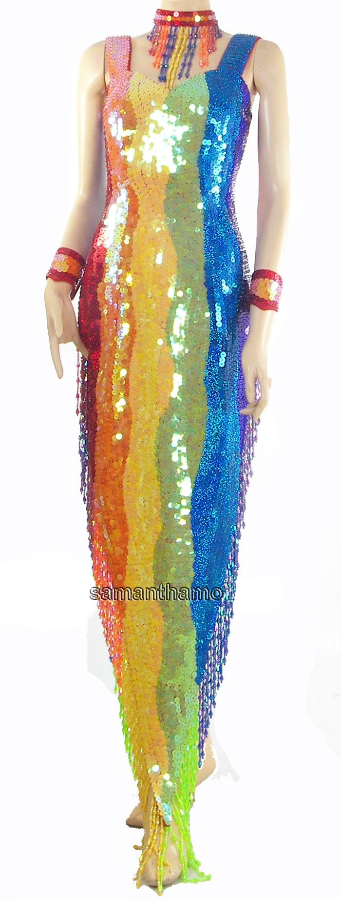 Sparkling Fully Sequined Gay Pride RAINBOW Gown TM7903 Hand made ...
