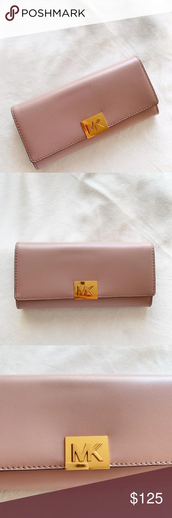 b23faef9f5bb Michael Kors Carryall Mindy Leather Wallet Michael Kors Mindy Carryall  Leather Signature PVC Flap Clutch Wallet