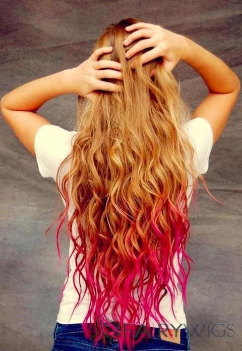 30 Inch Wavy Blonde And Red To Purple Human Hair Ombre Wigs Dip