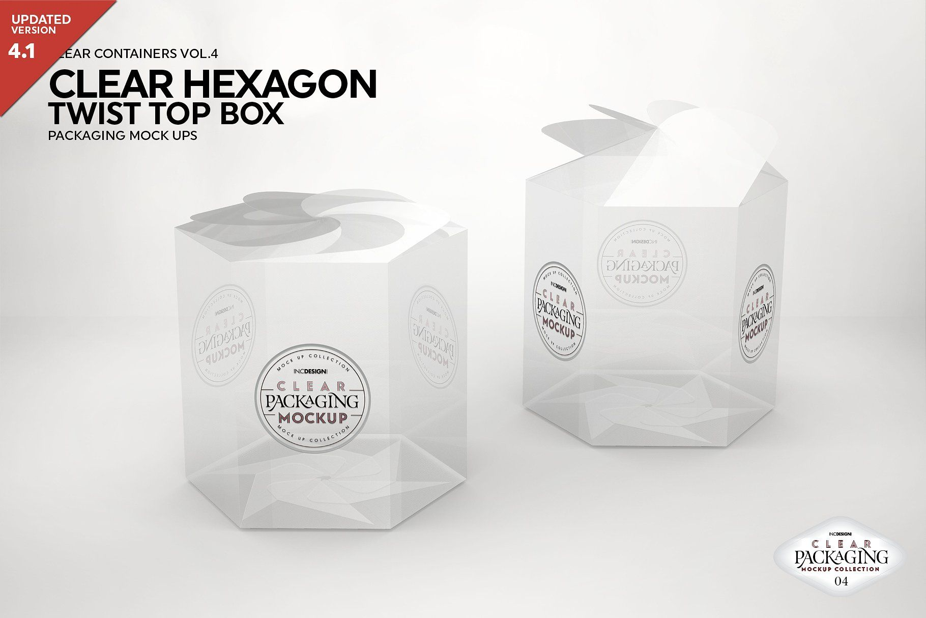 Download Clear Hexagon Twist Top Box Mockup Packaging Mockup Box Mockup Clear Container