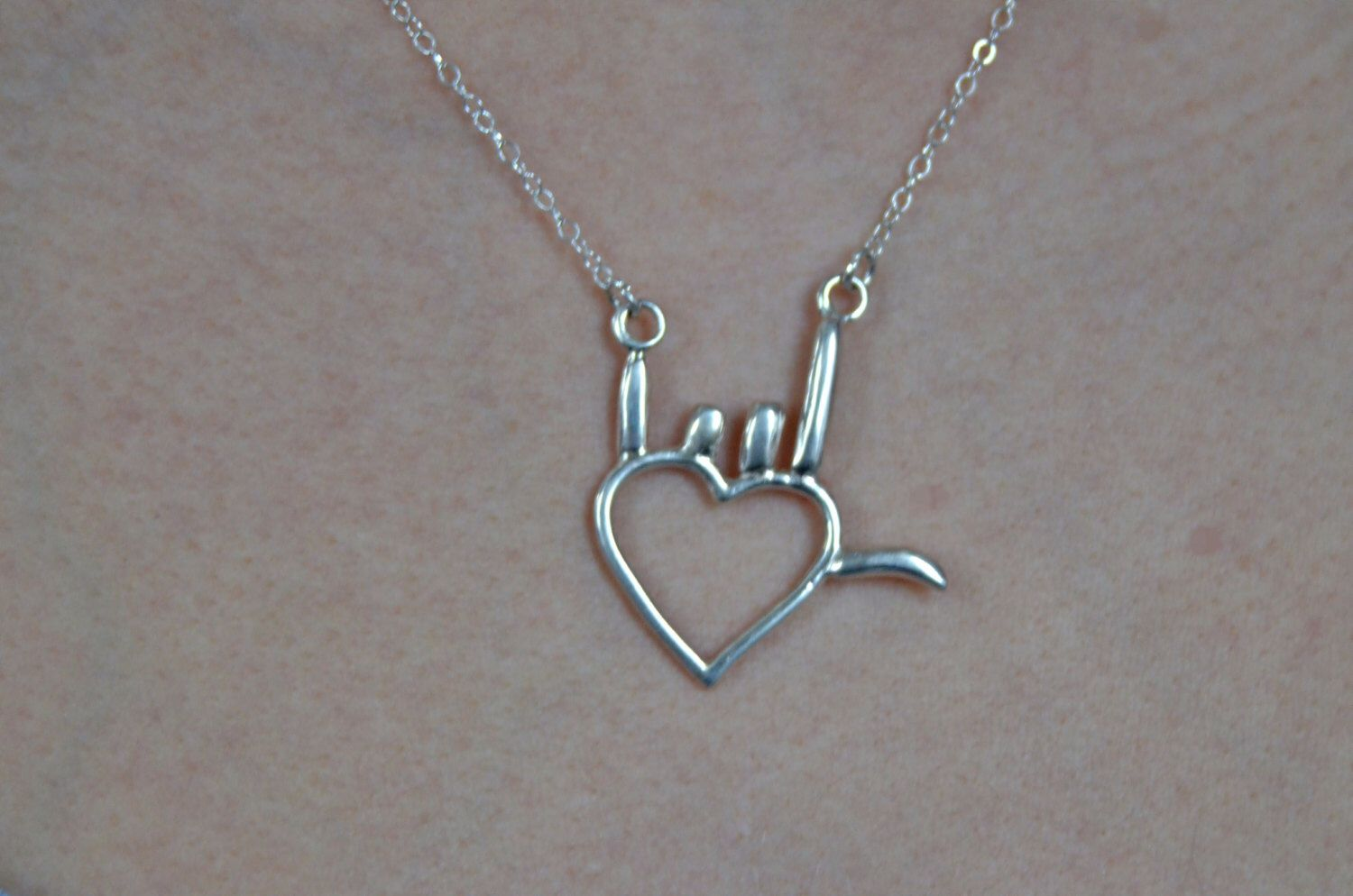 I love you hand sign language symbol sterling silver heart i love you hand sign language symbol sterling silver heart necklace holiday gift by buycottarizona Gallery