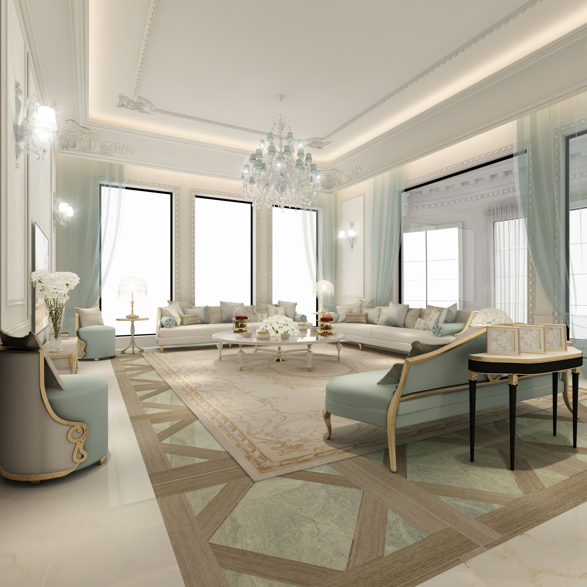 Modern Glam Living Room Decorating Ideas 19: Family-sitting-are-design-dubai