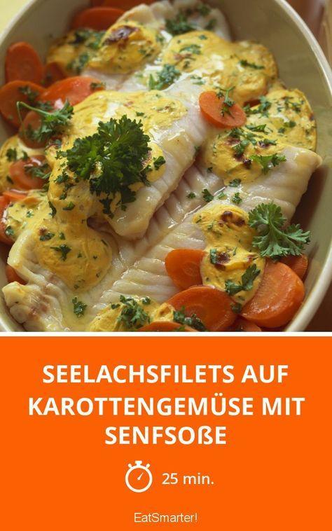 Seelachsfilets auf Karottengemüse mit Senfsoße