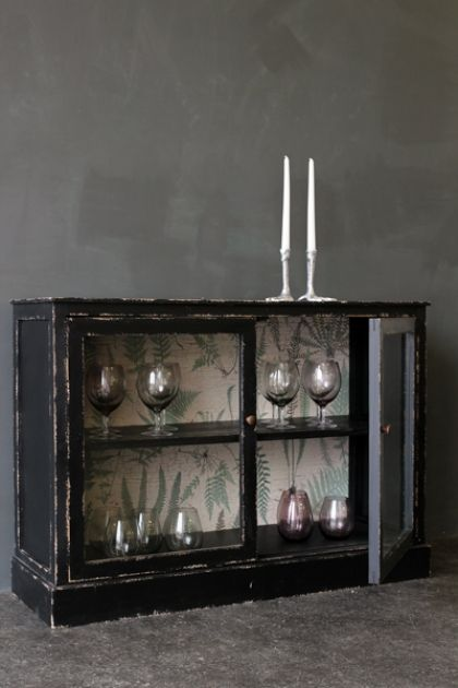 Distressed Black Display Cabinet with Botanical Lining ...