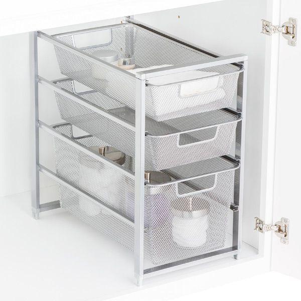 Beautiful Platinum Cabinet Sized Elfa Mesh Drawer Solution