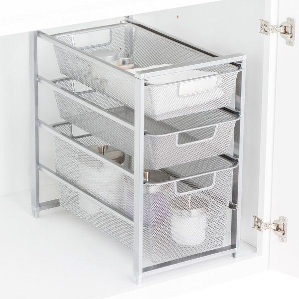 Platinum Cabinet Sized Elfa Mesh Drawer Solution