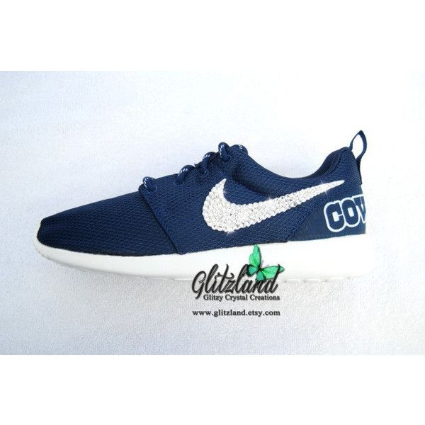 Swarovski Nike Navy Roshe Run W Dallas Cowboys Print Heel Blinged With... (