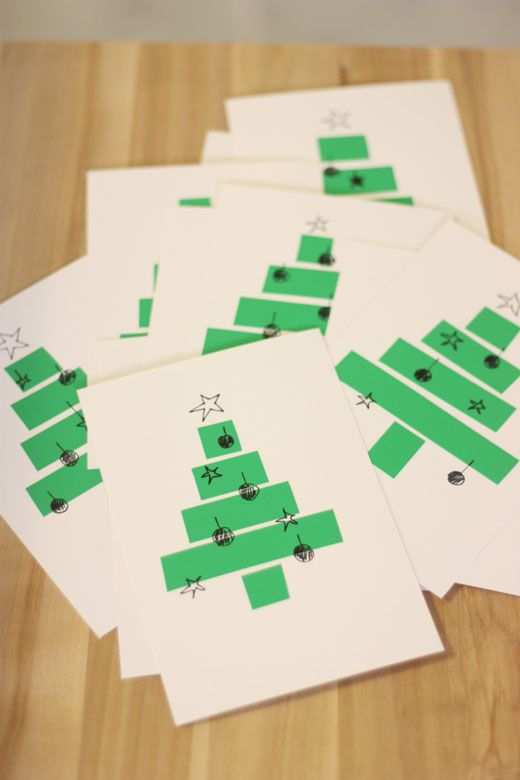 Sort of pink.: DIY Christmas cards with electrical or washi tape.