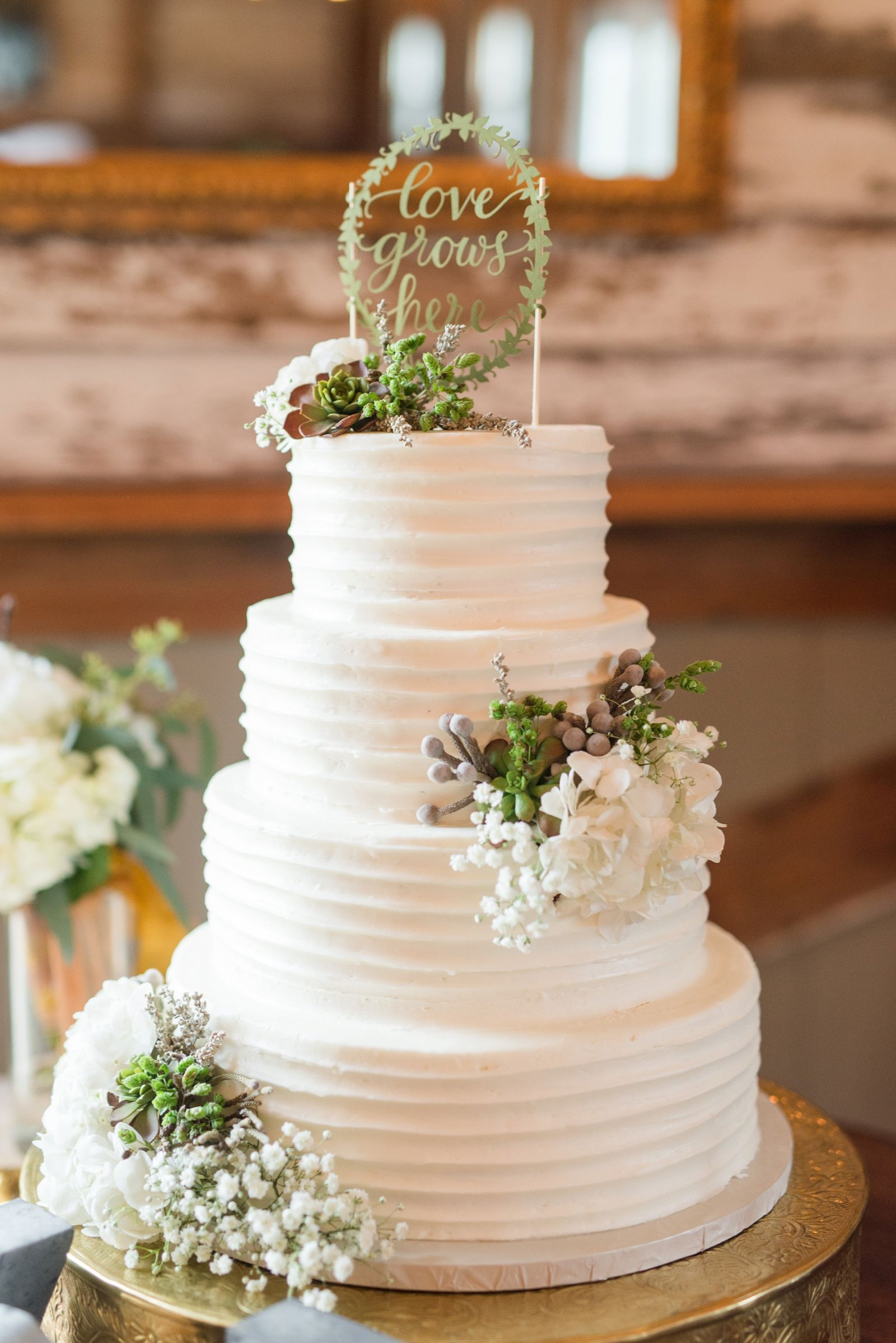 Wedding cake with succulents vintager inn new kent virginia fall