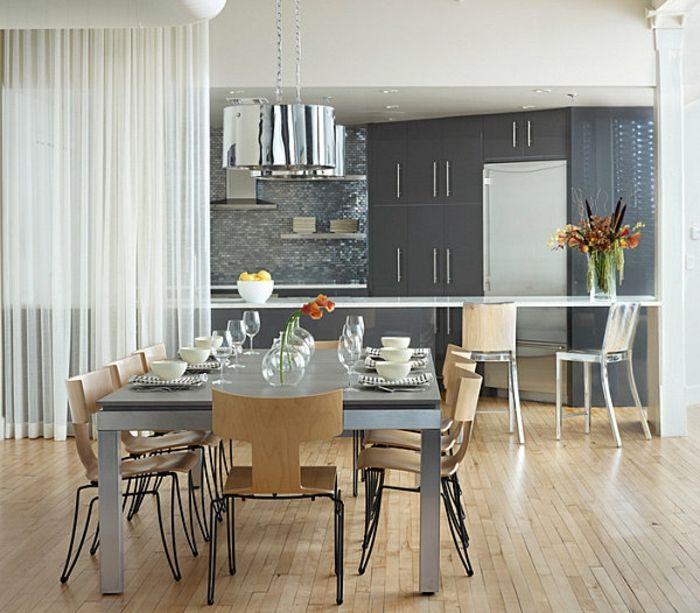 offene küche mit theke vom esszimmer trennen esstisch metallbeine, Esszimmer dekoo
