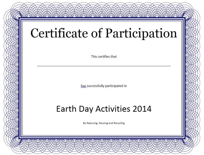 Participation Certificate Template Stationary Templates - certificate of attendance template microsoft word