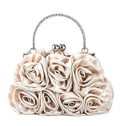 Emour Women Satin Rose Rhinestone Pure Color Handbag Evening Bags Wedding Handbags Carved Handle (Champagne) $17.99