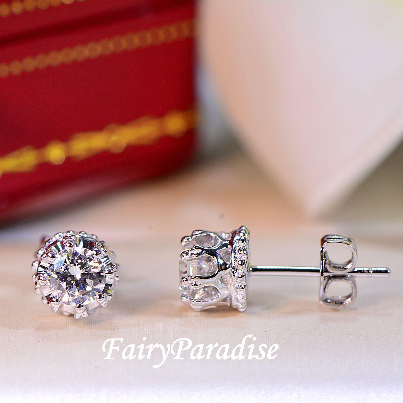 Man Made Diamonds Diamond Studs Earrings Princess Crown Total 0 8 Ct 4