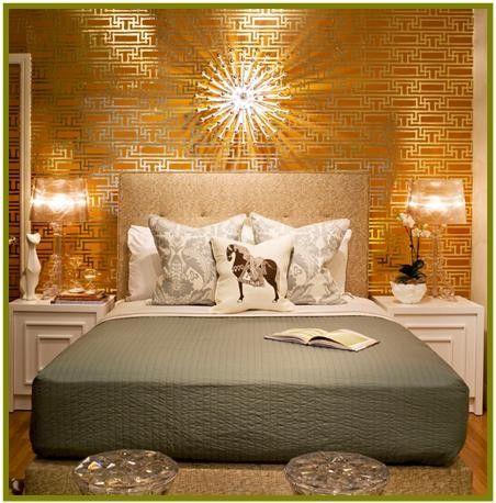 wallpaper in yellow gold, bedroom - Metallic home decor - ikea sideboard k amp uuml che