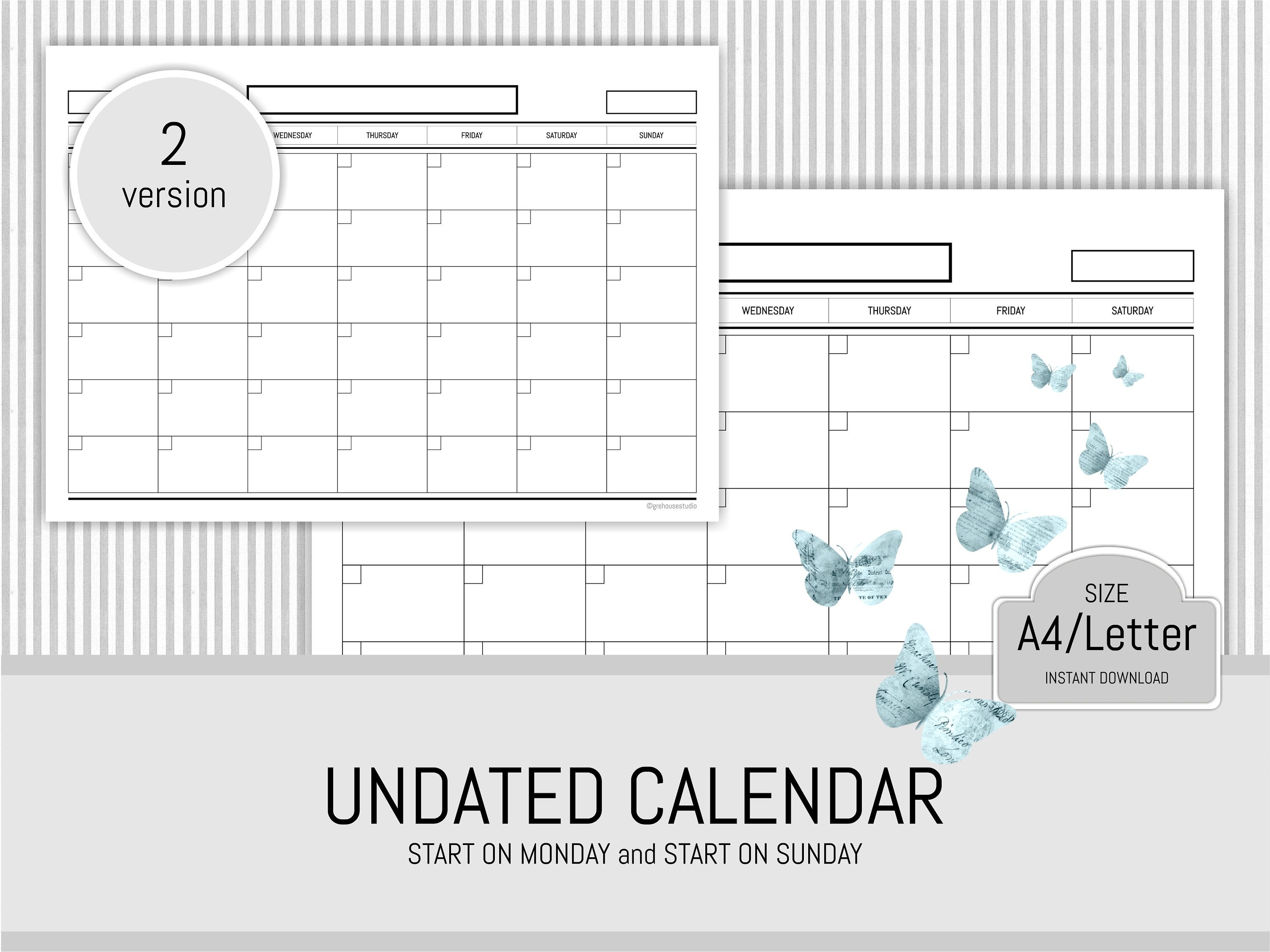 monthly planner printable undated planner pages monthly calendar