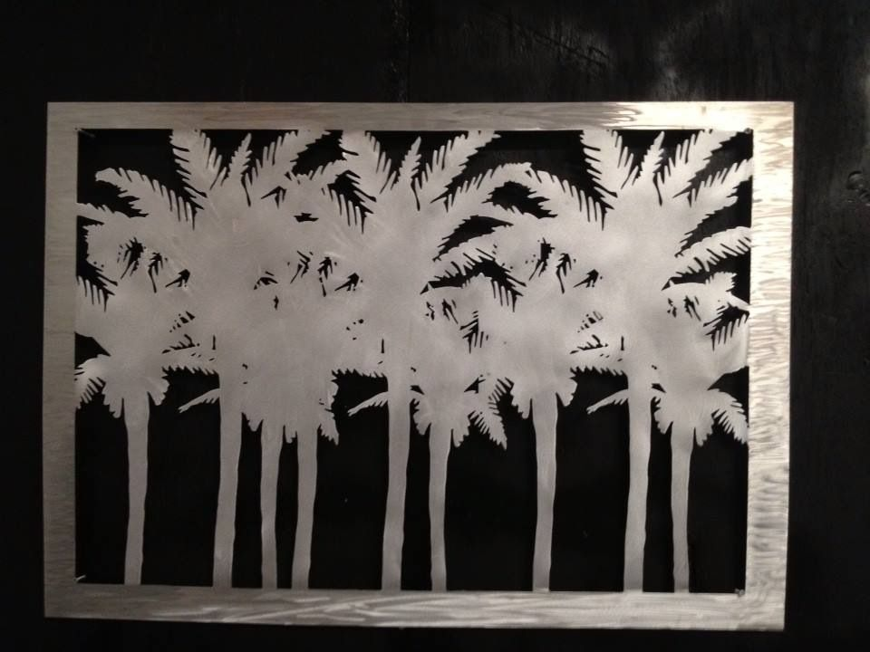 4 palms aluminum wall art sculpture. This piece is plasma cut from ...