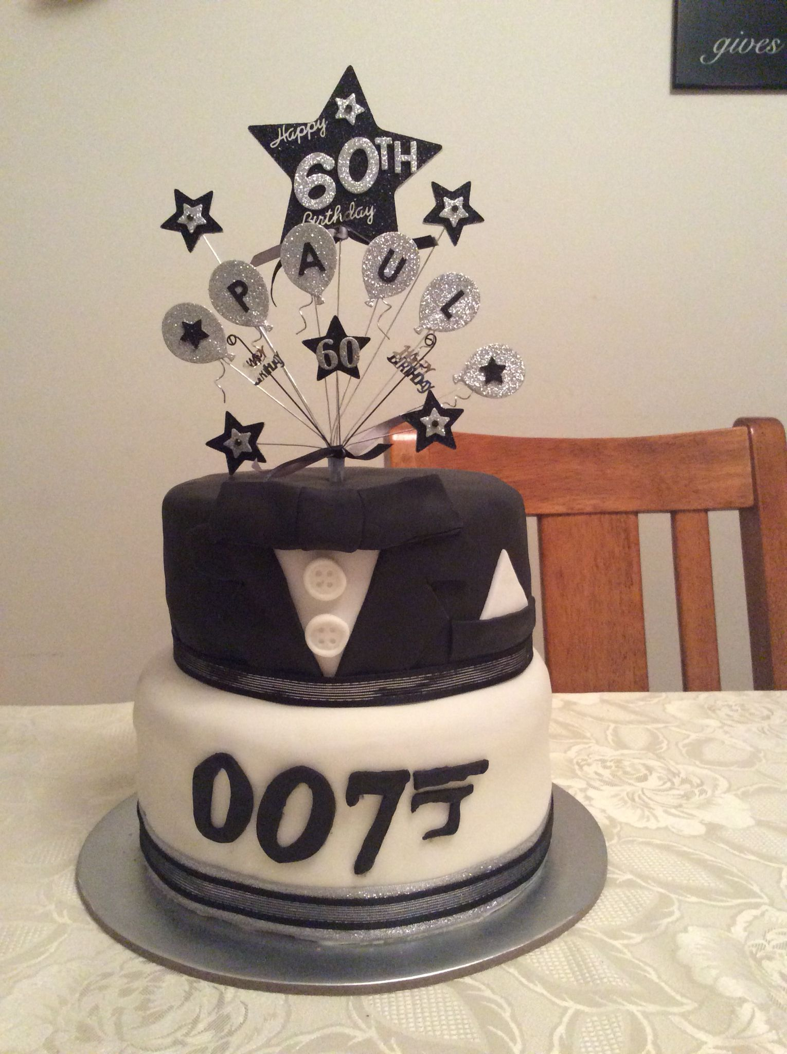 A Pinterest inspired James Bond cake I made for my friends Dads 60th