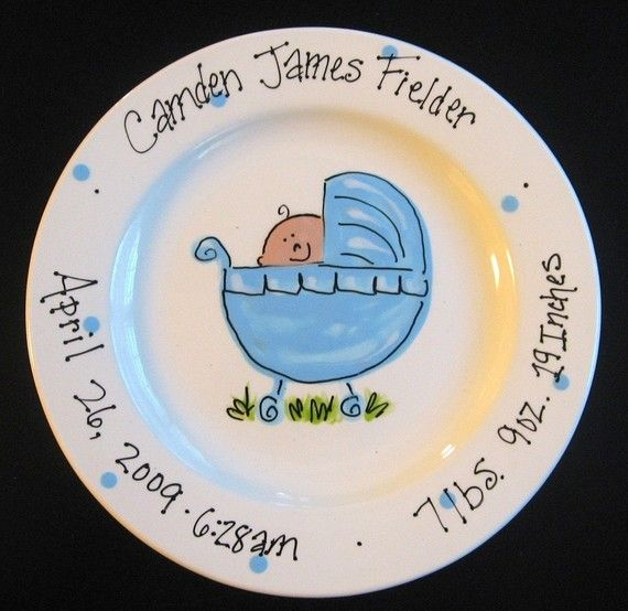 This Would Make Such A Sweet Shower Gift Hand Painted Baby Plate