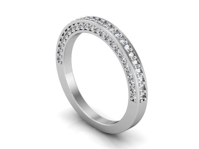 14kt white gold wedding band with diamonds on sides and top