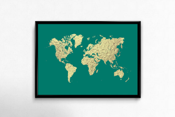 World Map Art Print Teal And Gold Faux Gold Foil Printable Poster