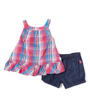 Fuchsia Plaid Tank & Bubble Shorts - Infant, Toddler & Girls