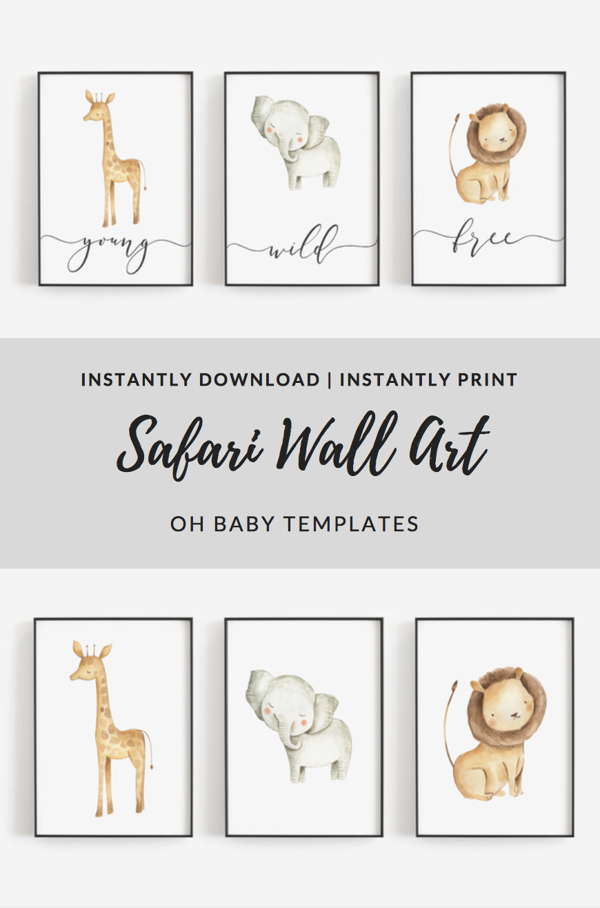 Young Wild And Free Safari Nursery Decor Safari Wall Art Etsy Safari Wall Art Printable Kids Wall Art Giraffe Wall Art
